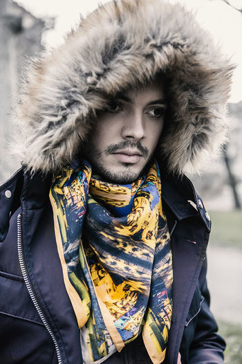 Paul in Berlin Adult Allgenders Berlin Day Fashion Gender Lifestyle One Person Outdoor Outdoors Park People Portrait Scarf Silk Silkcouture Tree Winter Young Adult