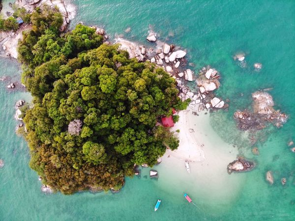 Sea view from above Sea Beauty Travel Travel Destinations Outdoor Nature View Aerial Shot Aerial Photography Aerial View Dronephotography Beauty In Nature EyeEm Nature Lover EyeEm Selects Getty Images EyeEm Best Shots Malaysia Landscape Beach Rock Boat Tree High Angle View Green Color Growing Green Moored Shore