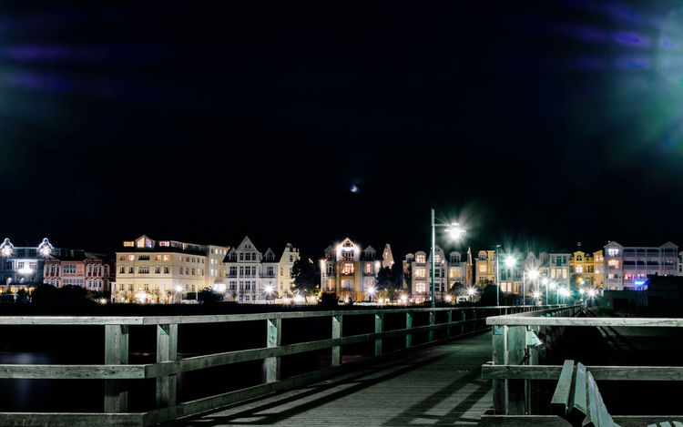 Baltic Sea Pier Promenade Architecture Bansin Bridge - Man Made Structure Building Exterior Built Structure City City Life Cityscape Illuminated Night No People Outdoors Sea-bridge Seaside Sky Usedom