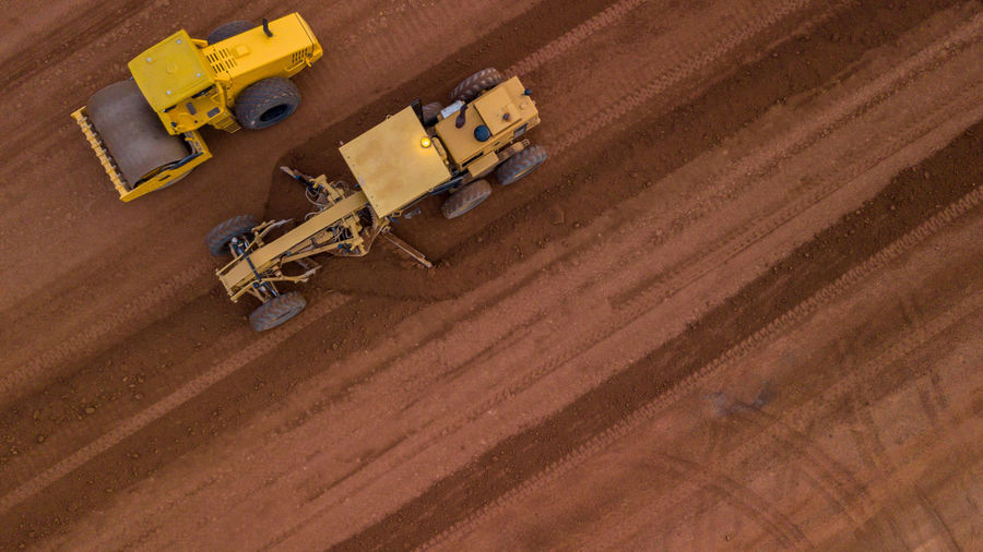 High angle view of working on land