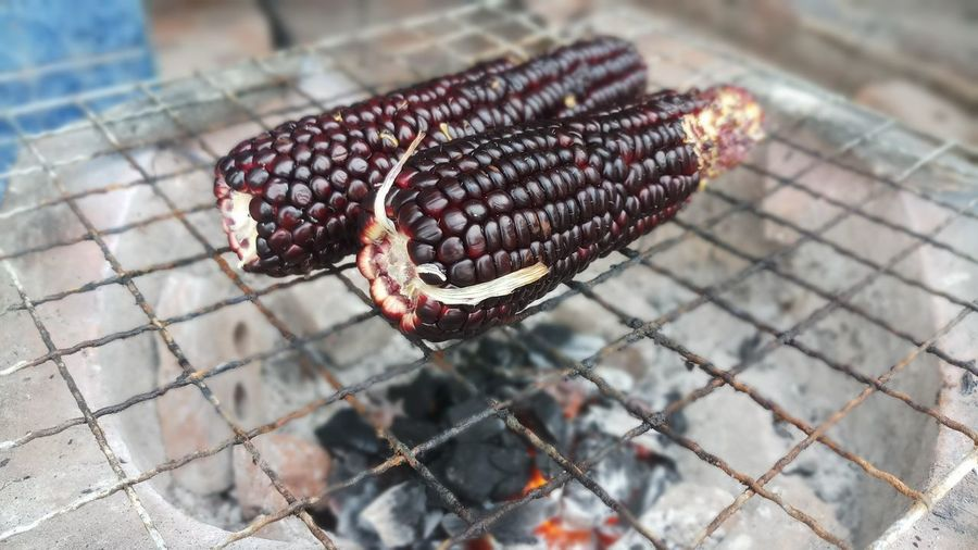 Close-up of corn on barbecue grill