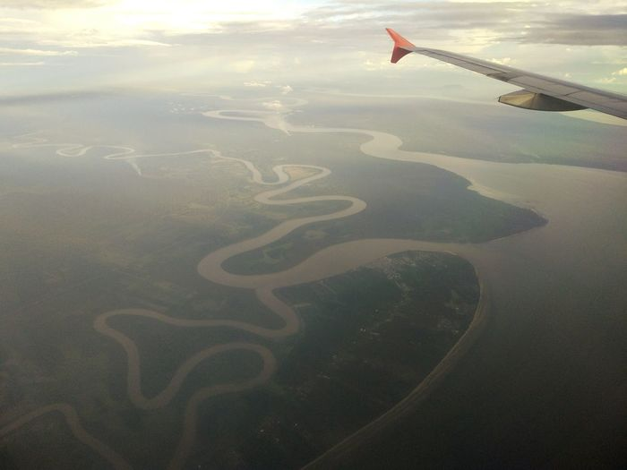 Borneo Borneo Rivers Skies Kuching River Nature Rural Ocean Airasia Malaysia Truly Asia Clouds Skies And Clouds Sea Peace Green City Water Sky