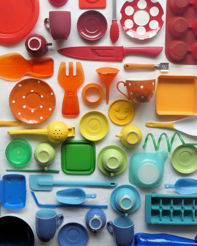 High angle view of various objects on table