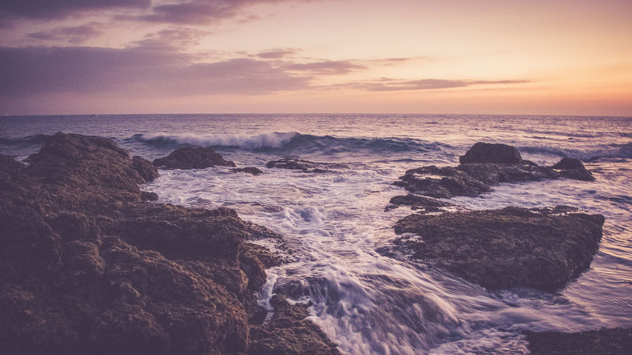Lanzarote, Summer 2018 Beach Beauty In Nature Cloud - Sky Horizon Horizon Over Water Land Motion Nature No People Outdoors Rock Rock - Object Rocky Coastline Scenics - Nature Sea Sky Solid Sport Sunset Tranquility Water Wave