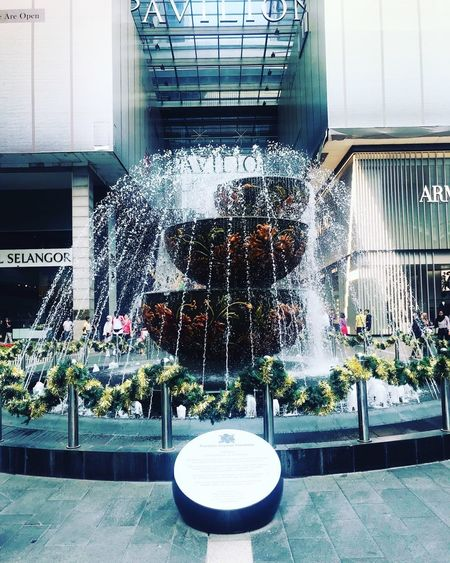 Shopping mall Citiy Shopping Mall Water Fountain Splashing Spraying Motion Built Structure Architecture