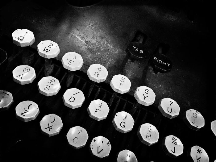 Number High Angle View Communication Old-fashioned Indoors  Alphabet No People Text Close-up Type Typewriter Technology Letters Buttons Keys