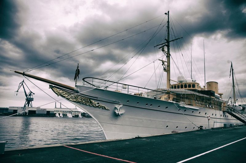 EyeEm Selects The Royal Ship Denmark Visitdenmark Sky Nautical Vessel Transportation Cloud - Sky Mast Outdoors Mode Of Transport No People Moored Harbor Nature Day Sea Tall Ship Water Architecture