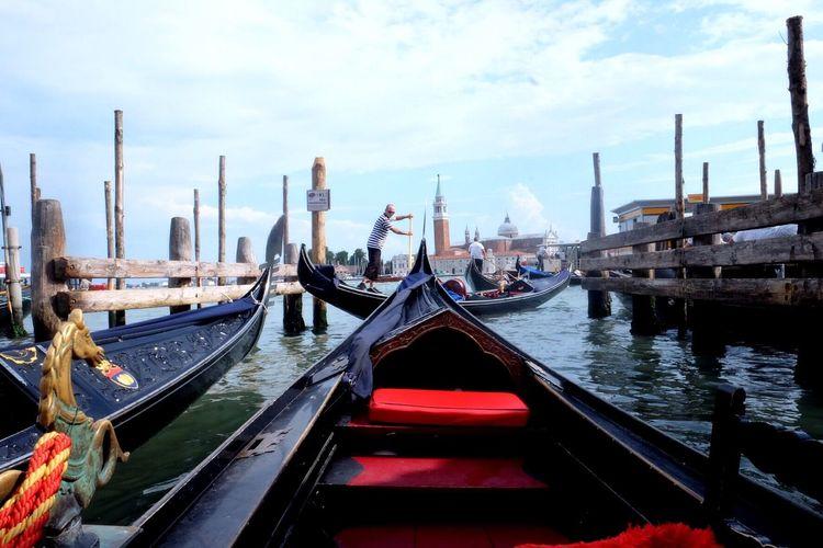 Gondolas on river