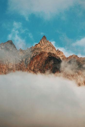 Scenic view of mountains against sky, kazbegi, georgia