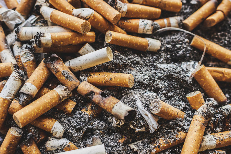 Full frame shot of cigarette butts