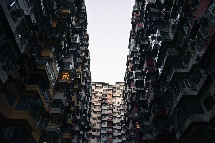 Hong Kong Quarry Bay Architecture City Ghetto Low Angle View Residential Building Sky Skyscraper