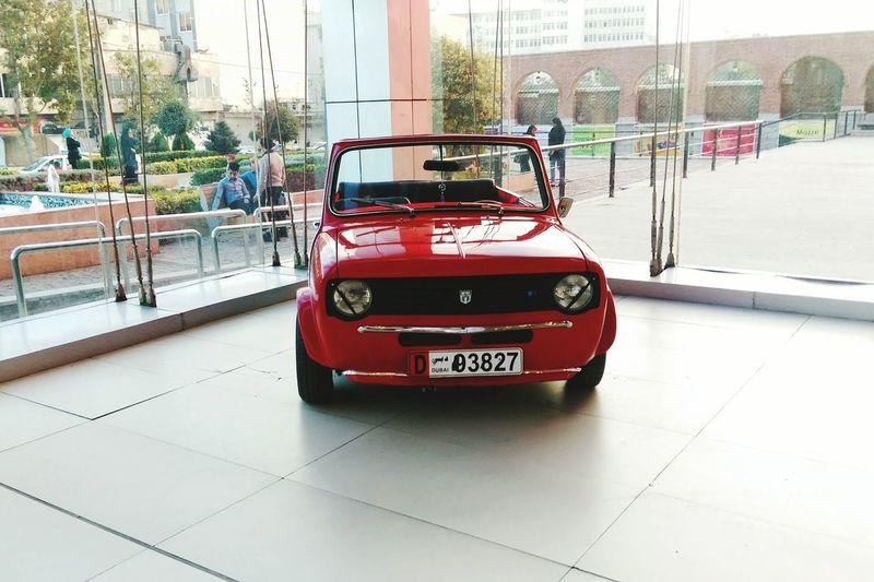 Red Land Vehicle Outdoors Mini Miniminer Car Oldcar Tehran Iran Shopping Center