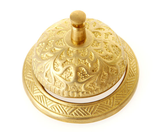 Brass Service Bell on White Background Bell Customer Support Gold Service Service Bell Brass Customer Care Detailed Gold Colored Help No People White Background