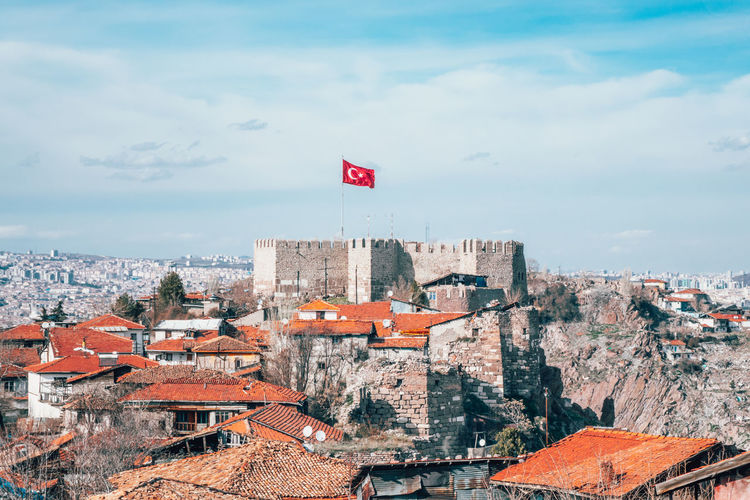 Ankara castle and other buildings in city against sky