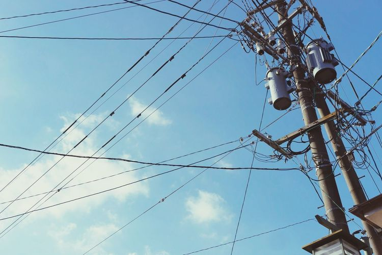 Cable Power Line  Connection Electricity  Power Supply Low Angle View Technology Japan Photography Japan Electricity Pylon Sky Day Cloud - Sky No People Outdoors Communication Telephone Line Complexity