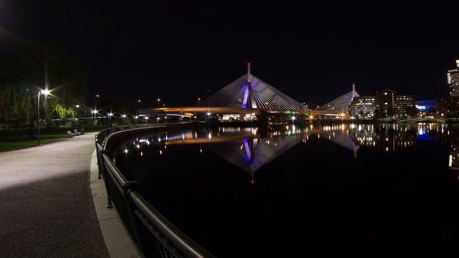 Zakim Bridge Night Illuminated Architecture Built Structure City Sky Bridge