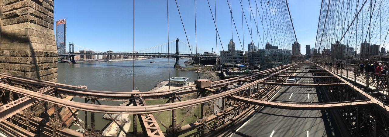 Panoramic view of suspension bridge