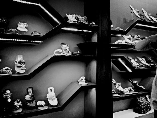 Mall Life Blackandwhite Eye4photography  B&W Collection shoe rack at dolmen mall karachi pakistan
