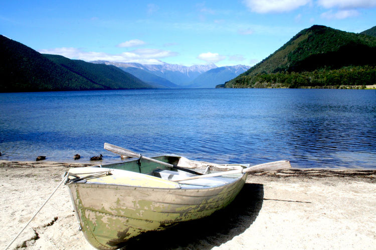Boat Calm Colors Distance Mountain Range Nautical Vessel Outdoors River Trip Vacation Voyage Water New Zealand New Zealand Landscapes Lieblingsteil Place Of Heart