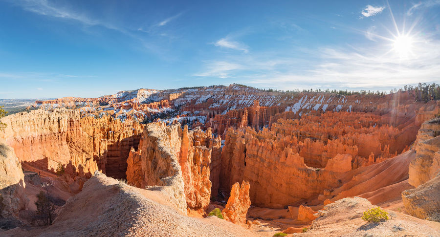 Bryce canyon national park, Utah, USA Panorama Rock Rock Formation USA Utah Bryce Canyon National Park Day Geology Landscape Snow Sunstar