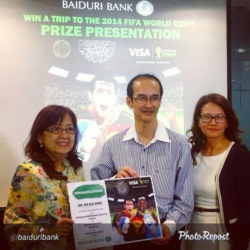 """Congrats to Dr On! Awesomeness By @baiduribank """"Congratulations to the winner of our all expense paid trip to Brazil, Dr On Sui Chee! He's gonna travel all the way to watch the GRAND FINAL of the FIFA World Cup 2014 courtesy of Baiduribank and Visa! So if this is your doctor don't forget to congratulate him! Baiduricards """" HappyBrunei"""