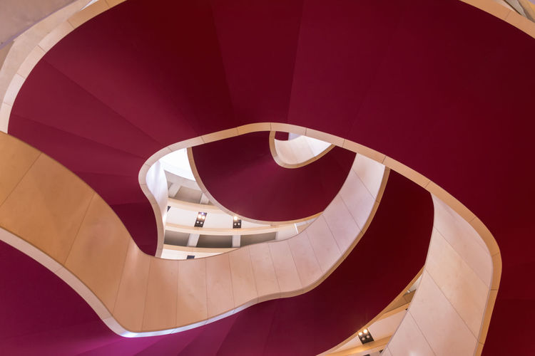 Double Spiral Staircase Architecture Built Structure Circle Claret Double Foyer Indoors  Modern No People Pattern Red Spiral Spiral Staircase Staircase Steps And Staircases Theatre Royal, Glasgow