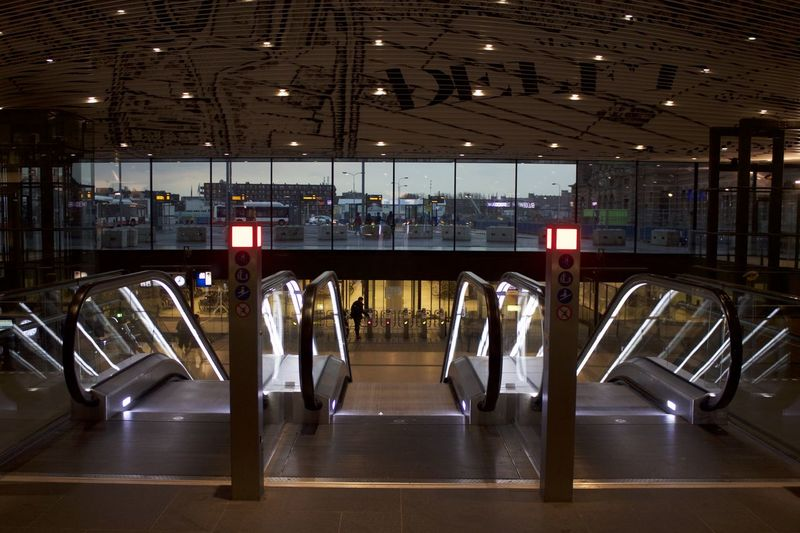 Delft Train Station Absence Airport Architecture Built Structure Business Ceiling Chair Empty Flooring Glass - Material Illuminated In A Row Indoors  Light Lighting Equipment Modern No People Order Reflection Seat Transparent HUAWEI Photo Award: After Dark