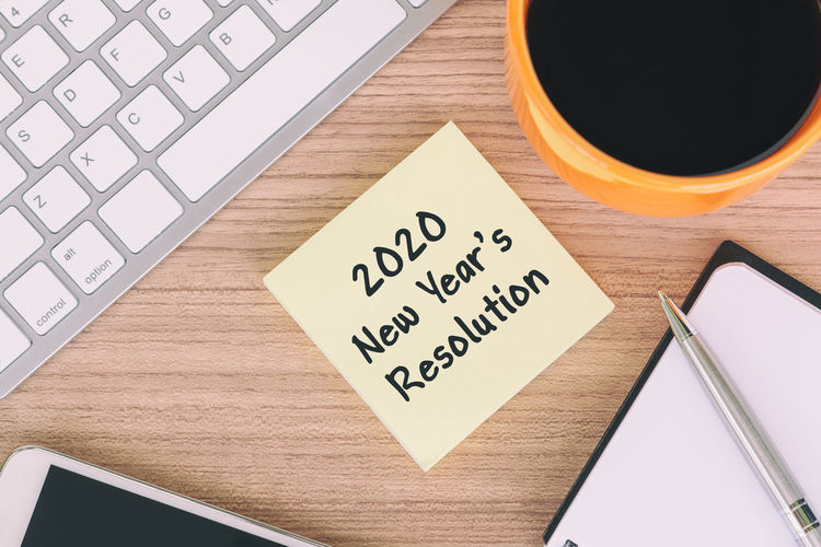 New year resolutions 2020 Pen New Year Resolutions 2020 New Year Motivation To Do List Coffee - Drink Adhesive Note Smart Phone Note Pad Note - Message Message