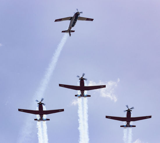 Aerobatic, Team, Flying, Aircraft, Vintage Aerobatics AerobaticTeam Air Vehicle Airplane Airshow Airshow Aviation Beechcraft Blue Sky Flying Formation Flying IAF Ii Independence Day Israel Israeli Air Force Low Angle View Mid-air Military Airplane Mode Of Transport Outdoors Smoke T-6 Texan Transportation