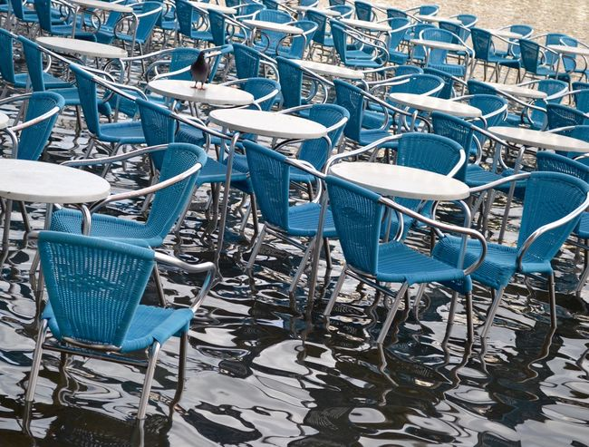 Acqua Alta Blue Chair Empty Flood In A Row Large Group Of Objects No People Order Outdoors St Marks Square Venice, Italy Water