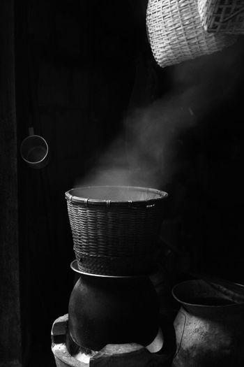 Cooking Smoke Thailand Life Style Craft Day Indoors  Kitchen Room No People Stove หุงข้าว นึ่งข้าวเหนียว หวดนึ่งข้าวเหนียว ครัวอีสาน