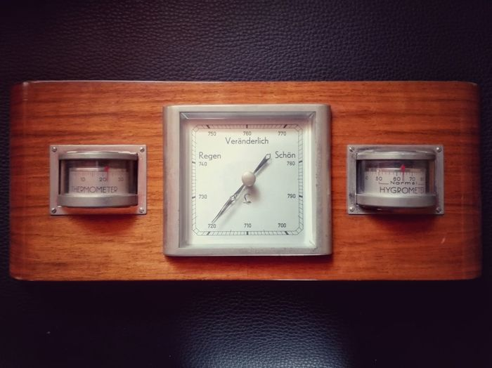 Old Weather Station Hygrometer Thermometer Barometer Vintage Vintage Photo Old Technology Wood - Material Metal Glass - Material Antique Fine Art Photography
