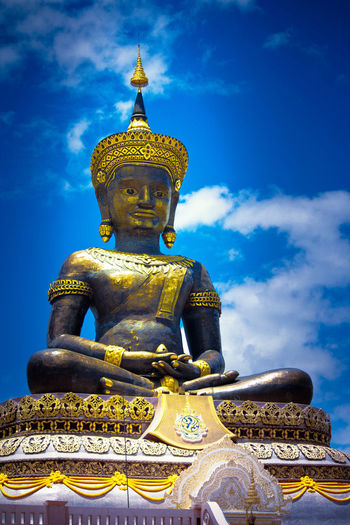 Architecture Art And Craft Belief Cloud - Sky Creativity Gold Colored Human Representation Idol Low Angle View Male Likeness No People Ornate Place Of Worship Religion Representation Sculpture Sky Spirituality Statue