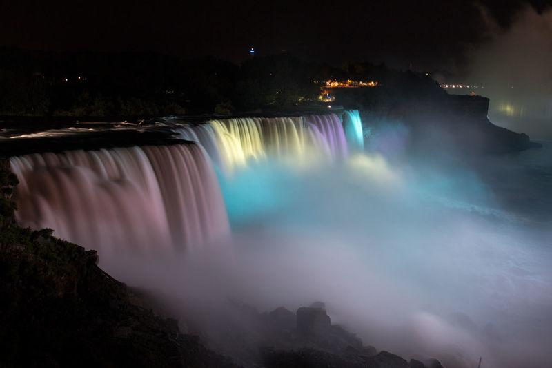 Illuminated niagara falls at night
