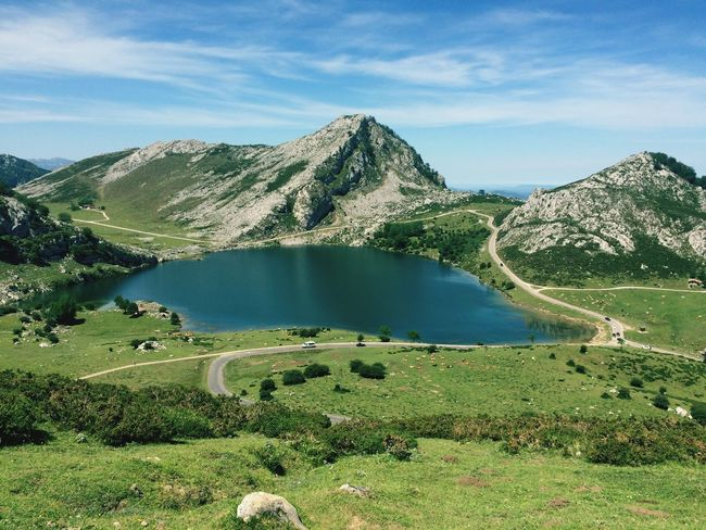 Covadonga Lake Mountain Scenics Nature Water Tranquil Scene Tranquility Lake Mountain Range No People Landscape Outdoors Grass Asturias Covadonga