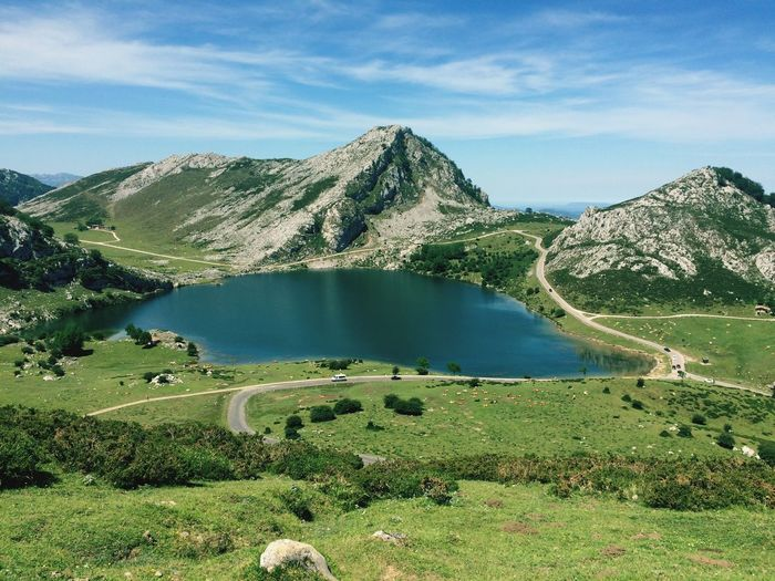 Covadonga Lake Mountain Scenics Nature Water Tranquil Scene Tranquility Lake Mountain Range No People Landscape Outdoors Grass Asturias Covadonga The Great Outdoors - 2018 EyeEm Awards