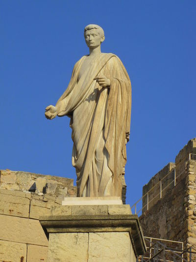 Art And Craft Day Human Representation Low Angle View No People Outdoors Roman Emperor Sculpture Sky Statue Statue Of Caesar Augustus, From The Tower Of Pretoria And The National Archaeological Museum Of Tarragona -Spain Tarraco  Travel Destinations