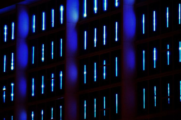 Arts Culture And Entertainment Art is Everywhere Blue Nuances Of Blue Building Exterior Night Lights Nightlife Science Data Cyberspace Shelf Communication Electricity Tower LED The Architect - 2018 EyeEm Awards HUAWEI Photo Award: After Dark