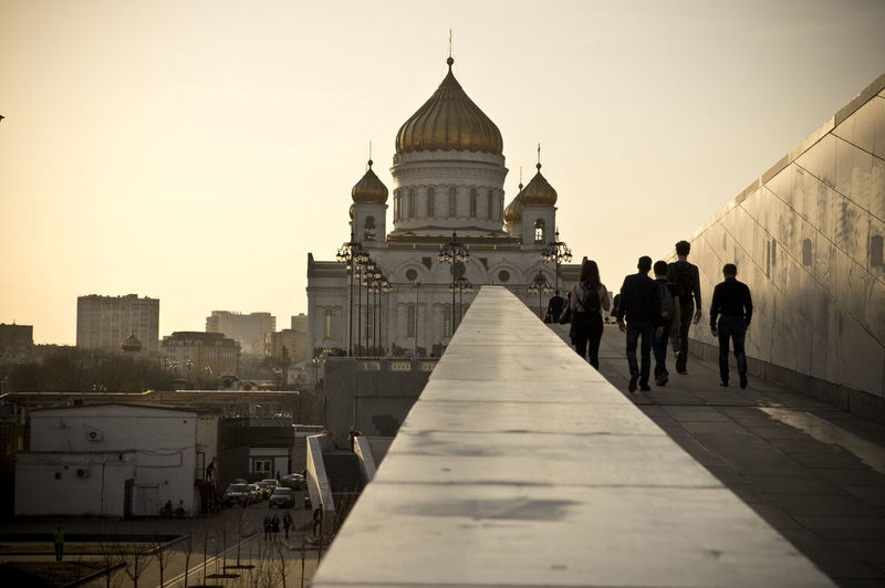 EyeEmNewHere Moscow Moscow City Russia Stories From The City Architecture Building Exterior Built Structure City Clear Sky Day Outdoors Place Of Worship Real People Religion Sky Spirituality Sunset Travel Destinations