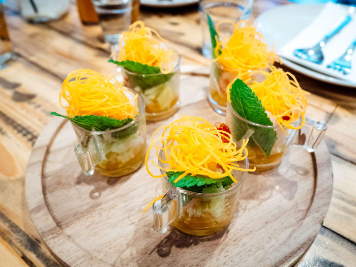 Prawn sashimi shooters Asian Food Colourful Delicious Dinner Food Food And Drink Freshness Healthy Eating Lunch Prawn Restaurant Thai Food