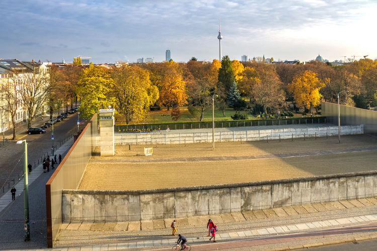 High Angle View Of People On Street During Autumn