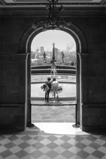Arcade Arch Architectural Column Architecture Black And White Blackandwhite Building Building Exterior Built Structure Chapultepec Day Entrance Flooring Full Length History Outdoors People Real People The Past Tiled Floor Tourism Travel Travel Destinations