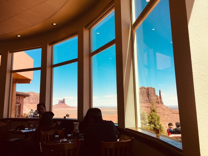 Lunch Monument Valley Roadtrip Desert The View Hotel Arizona Destination Architecture Sky Built Structure Window Nature Sunlight Sea Incidental People Day Glass - Material Indoors  Blue Water Clear Sky Building