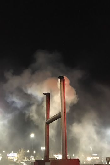 Smoke Stack Factory Industry Low Angle View Smoke - Physical Structure No People Emitting Sky Air Pollution Outdoors Chimney Night Photography Night Exhausts Texas BBQ Smoker