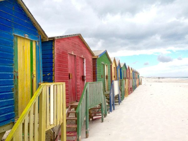 Sky Day Cloud - Sky Outdoors No People Beach Sand Multi Colored House Colourful Houses Small Houses Wooden House
