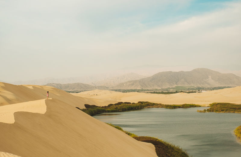 Scenics - Nature Mountain Beauty In Nature Sky Tranquility Nature Lake Landscape Environment Outdoors Climate Desert Sand Dunes Peru Traveling Peru Ica Laguna Moron Moron Oasis Moron