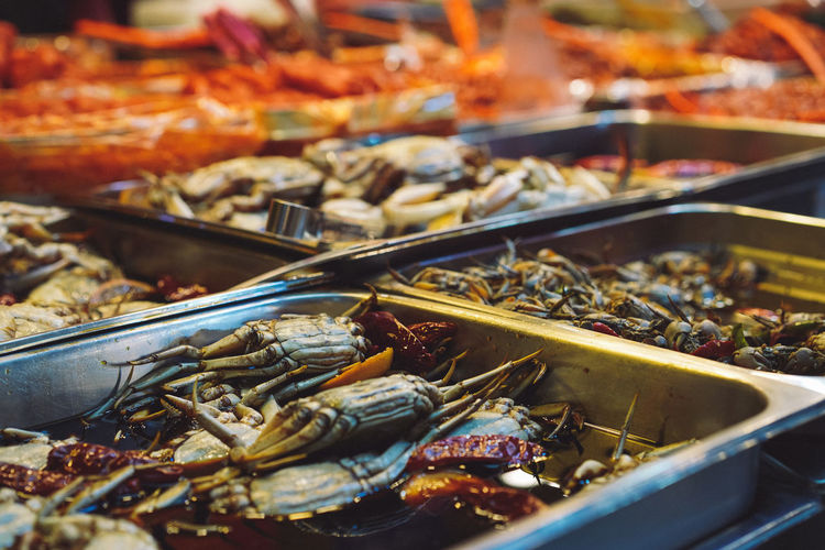 Close up view of seafood for sale at market stall