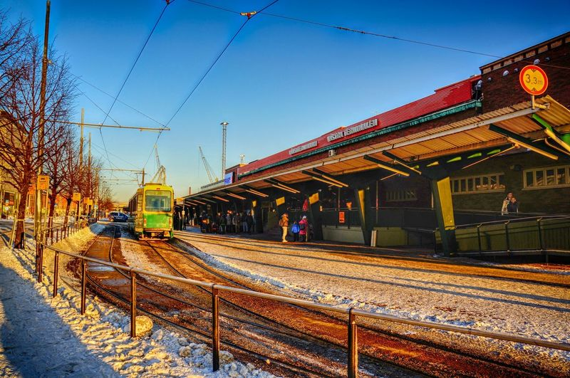 Finland Helsinki Scandinavia Winter Architecture Built Structure Cable Capital Clear Sky Day Europe Mode Of Transport No People North Europe Outdoors Public Transportation Rail Transportation Railroad Station Railroad Station Platform Railroad Track Sky Snow Train - Vehicle Transportation Urban