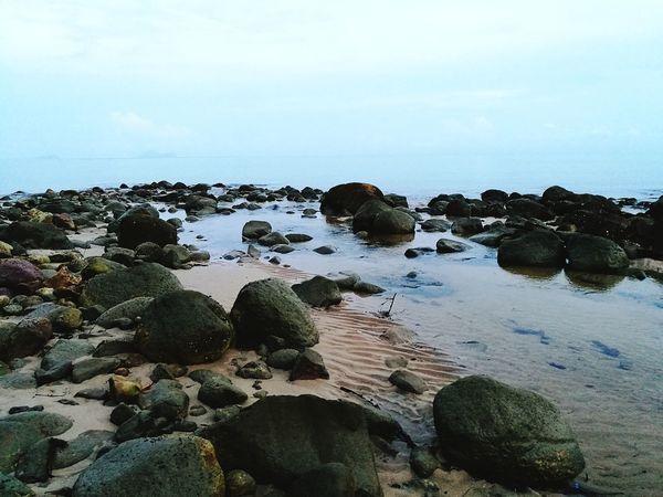 Rock - Object Sea No People Water BeachHorizon Over Water Outdoors Day Sky Beauty In Nature Dawn Nature Tranquility Close-up Damai Beach Sarawak Borneo Malaysia