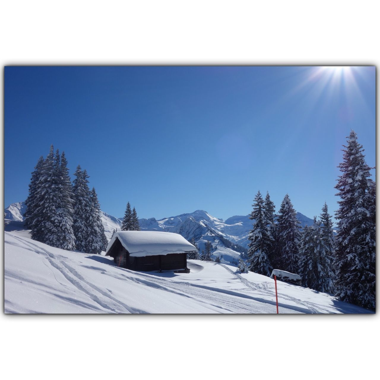 sky, winter, snow, cold temperature, nature, tree, mountain, building exterior, clear sky, architecture, landscape, house, built structure, building, environment, sunlight, no people, day, beauty in nature, cottage, outdoors, snowcapped mountain
